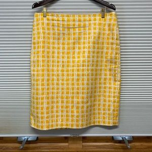 Talbots yellow/white windowpane pencil skirt